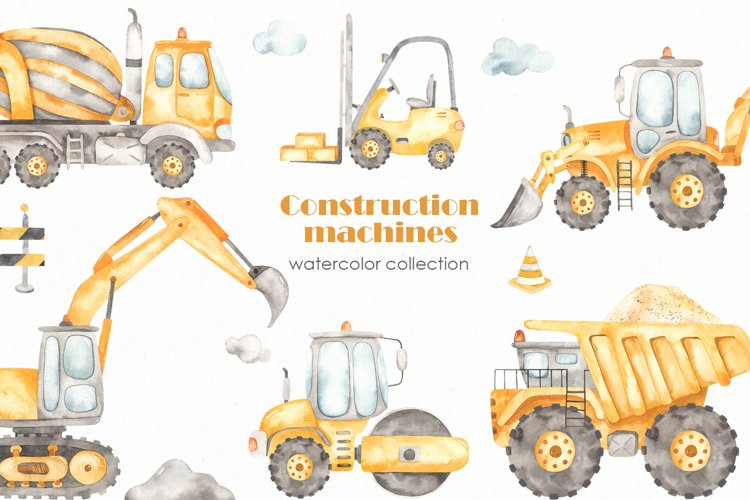 Construction machines watercolor example image 1