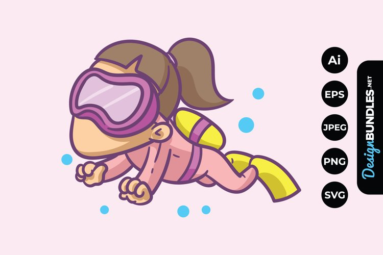 Girl Swimming Clipart example image 1