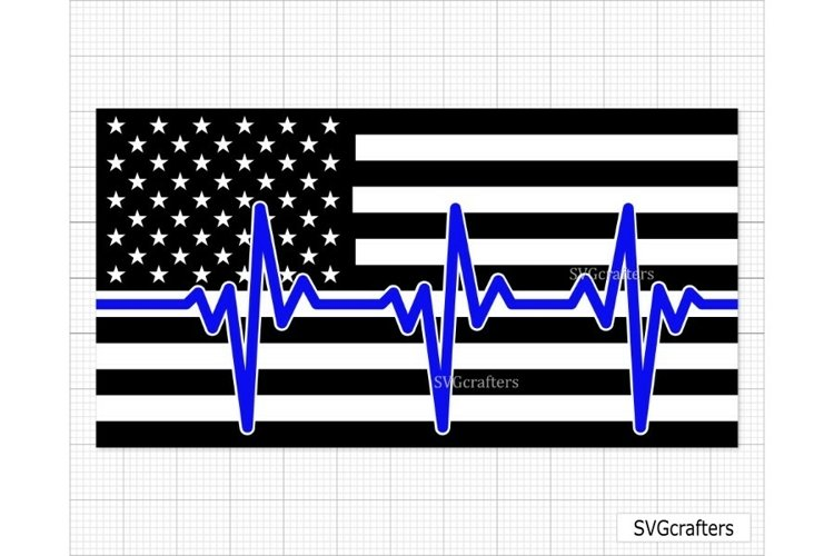 Heartbeat American Flag SVG, Police SVG, Back the blue svg example image 1