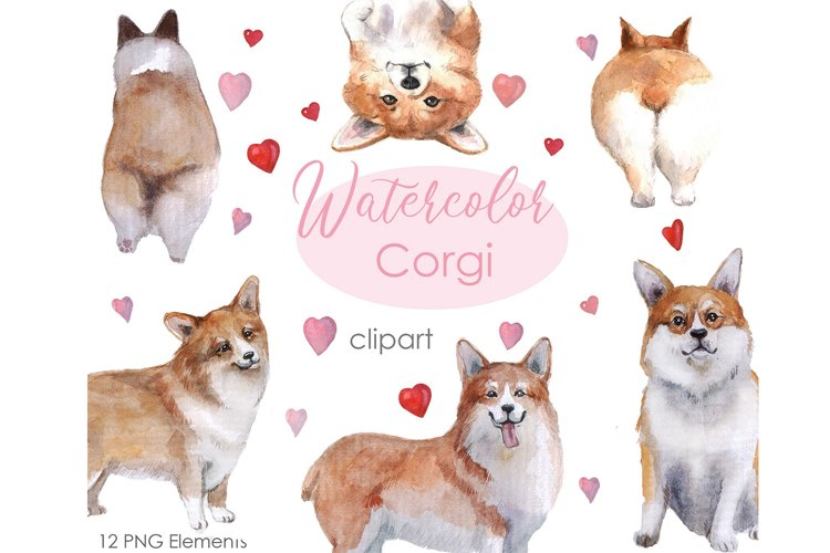Watercolor Clipart. Dog Clipart. Cute Corgi Clipart.