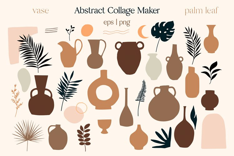 Abstract palm and vases vector clipart, Tropical leaves