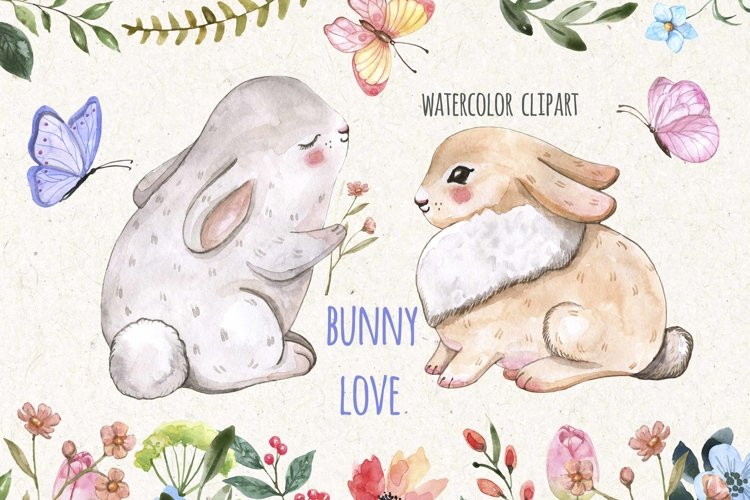 Easter Bunnies Watercolor Cute Baby Rabbit Animal Clipart example image 1
