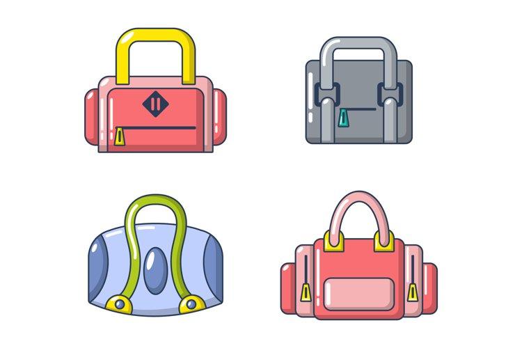 Sport bag icon set, cartoon style example image 1