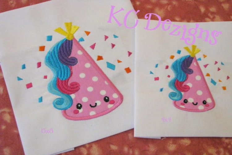 Cute Unicorn Birthday Hat Machine Applique Embroidery Design