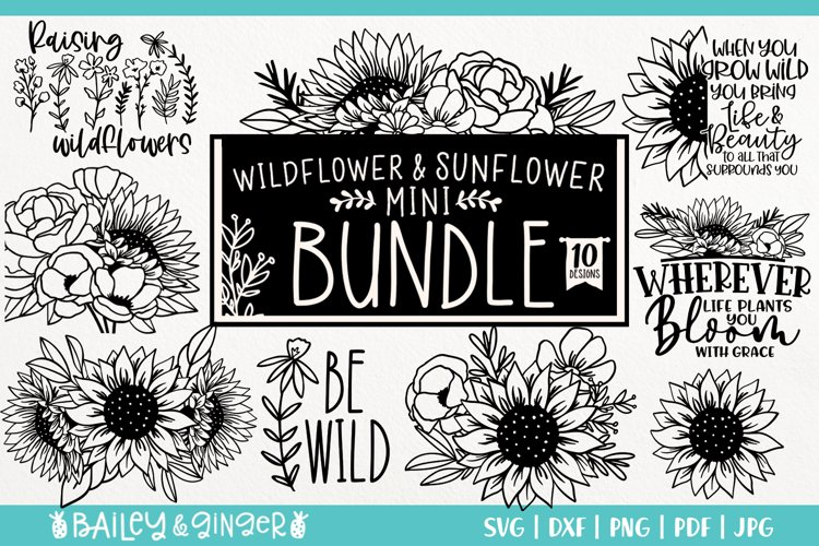 Sunflower and Wildflower SVG Bundle | Floral Line Art