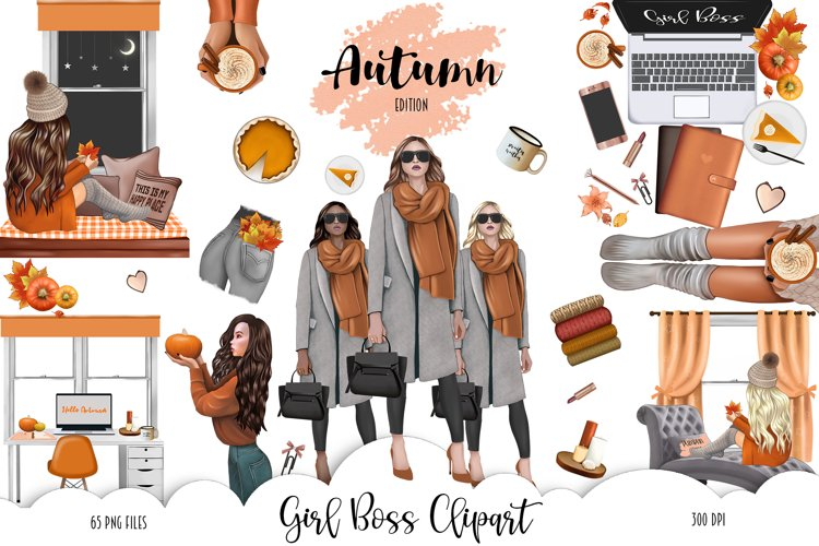 FALL CLIPART - AUTUMN GIRL BOSS, Planner Graphics example image 1