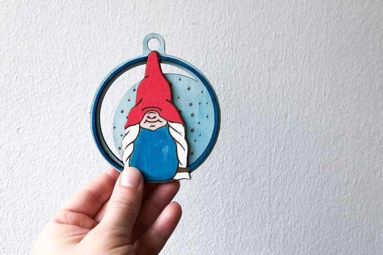 Christmas Gnome Ornament Laser Cut Files example 1