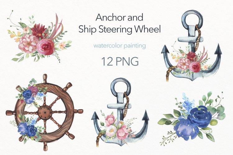 Watercolor Floral Anchor,Ship Wheel, Floral Bouquets.