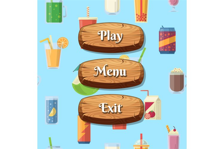 Vector cartoon style wooden buttons with text for game example image 1