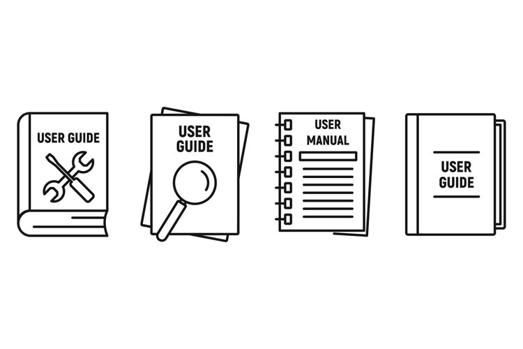 User guide book icons set, outline style example image 1
