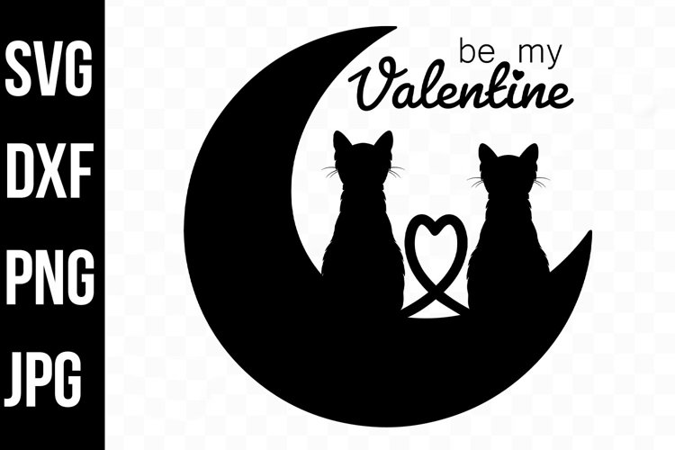 Be My Valentine Cats, Black Moon Crest svg, dxf, png, jpg