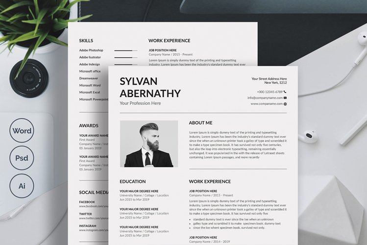 Minimalist Resume Template Word example image 1