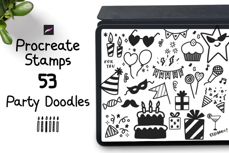 Procreate Stamps 53 Party elements doodle stamps example image 1