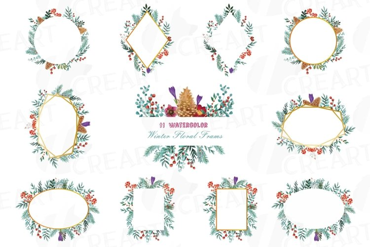 Floral winter frames watercolor clip art pack, winter leaves example image 1