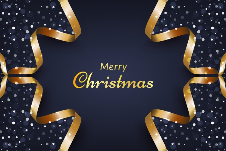 Christmas background with snow and gold ribbon frame