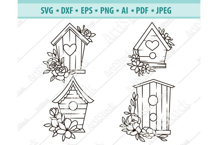 Birdhouse Svg, Wooden birdhouse Svg, Floral Dxf, Png, Eps example image 1