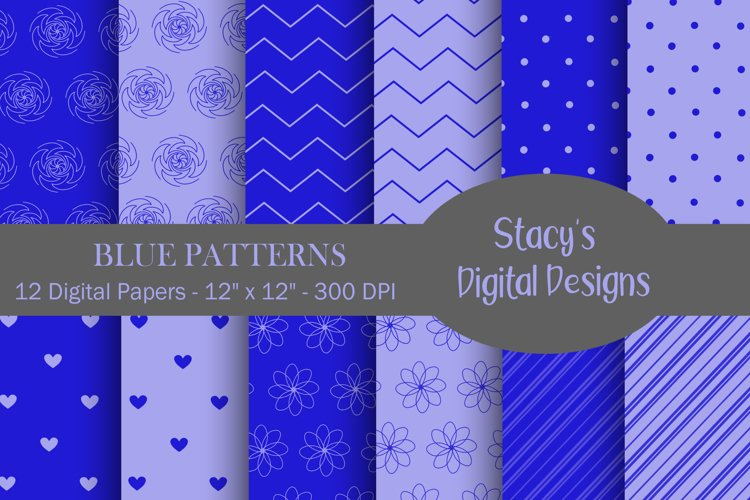 Blue Patterns - 12 Digital Papers example image 1