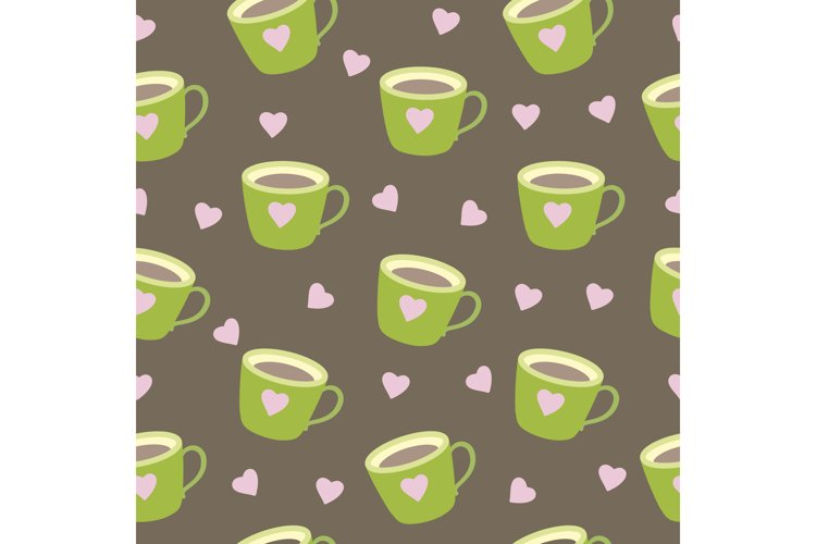 Seamless pattern brown mug with coffee cup. example image 1