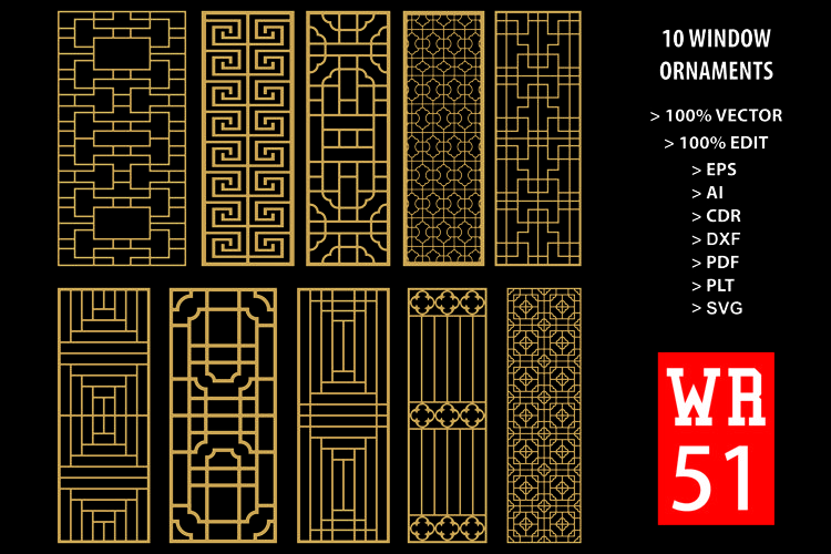 WR 51, Carved Window Ornaments Laser Cutting example image 1