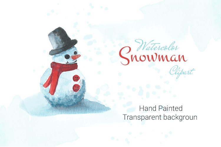 Watercolor Snowman clipart example image 1