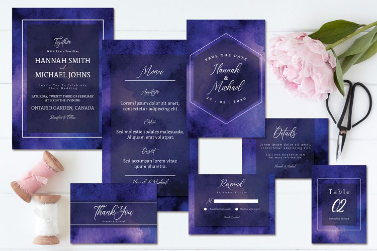Purple Blue Abstract Watercolor Wedding Invitation Set example image 1