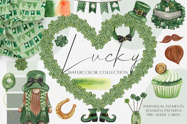 Watercolor St. Patricks Day Clipart. Sublimation Graphics