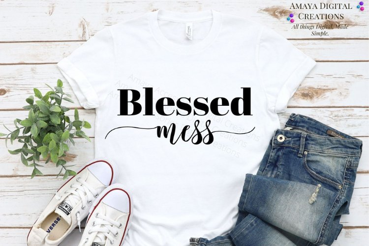 Blessed Mess SVG,Home Sign SVG,Rustic Home Sign, Instant example image 1