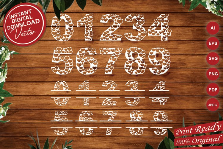 Papercut Heart Numbers Set, Numerical Monogram SVG Cut Files example image 1
