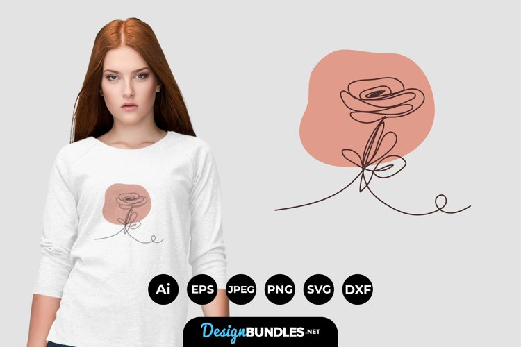 Monoline Rose with Simple Background SVG