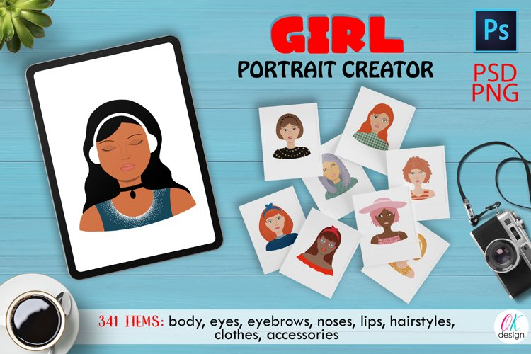 Girl Portrait CREATOR PSD. Girl character PSD, PNG files.