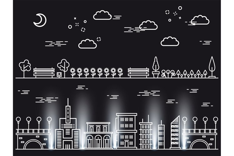 Line art landscapes concepts on black background example image 1