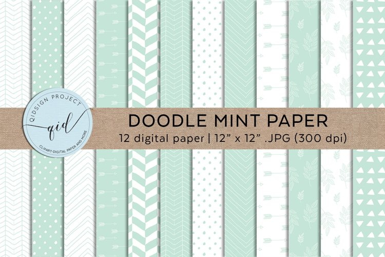 Doodle Digital Paper Mint Green Pastel