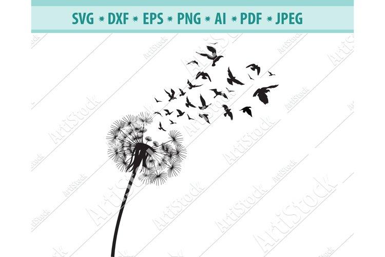 Dandelion with Birds SVG, Dandelion Flower Dxf, Png, Eps example image 1