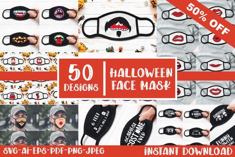 50 Halloween Face Mask Designs SVG, AI, EPS, PNG, JPEG, PDF