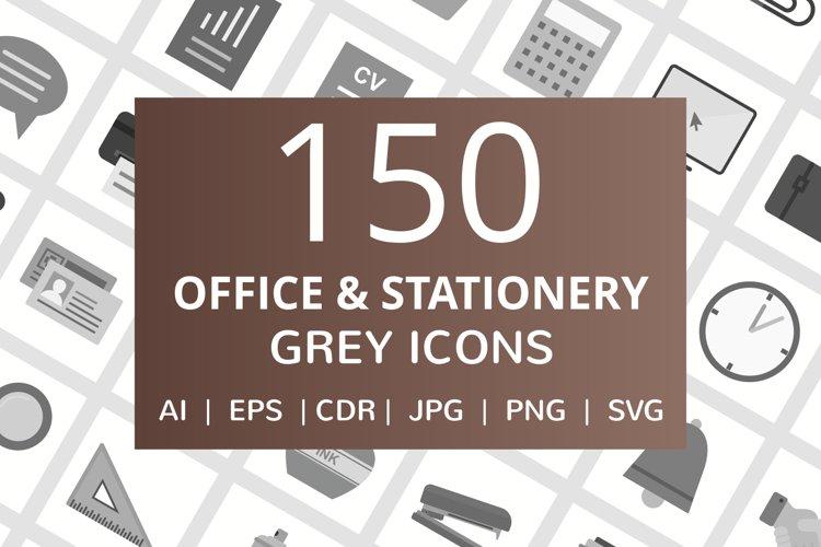 150 Office & Stationery Flat Greyscale Icons example image 1