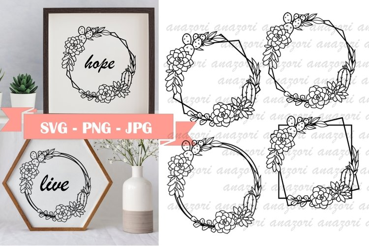 Succulent Frame SVG - Cactus Clipart - SVG- PNG -JPG example image 1