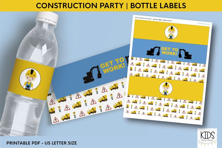 Printable birthday bottle wrappers, construction party decor example image 1