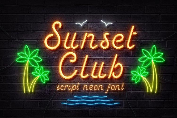 Sunset Club Script Neon Font example image 1