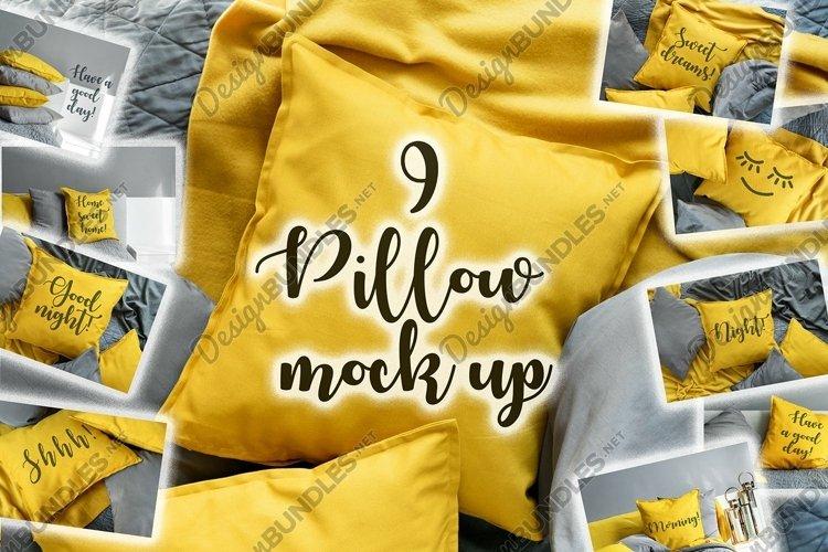 Yellow Pillow Mockup Template Bundle