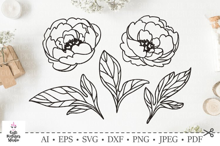 Graceful peony leavesf and flowers. SVG DXF cut file.