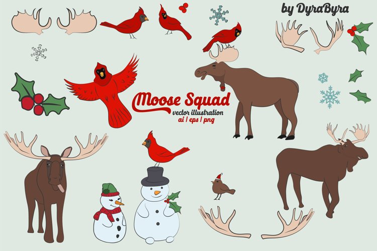 Moose & Cardinal Bird Vector Illustrations example image 1