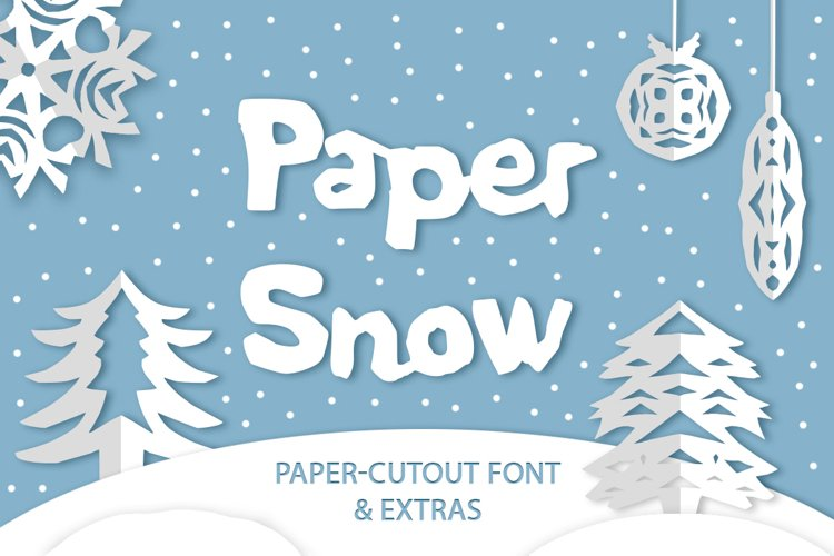 Paper snow. Cut out font & extras. example image 1