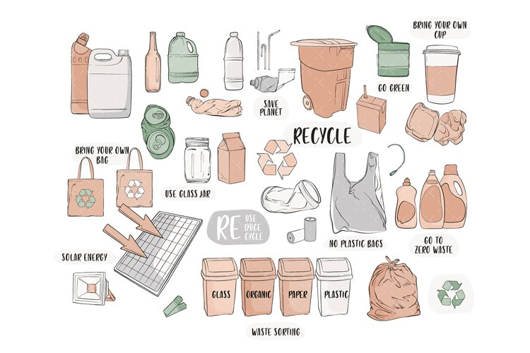 Zero waste eco friendly recycle craft clipart, handmade busi