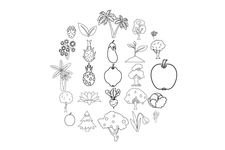 Harvest plants icons set, outline style example image 1