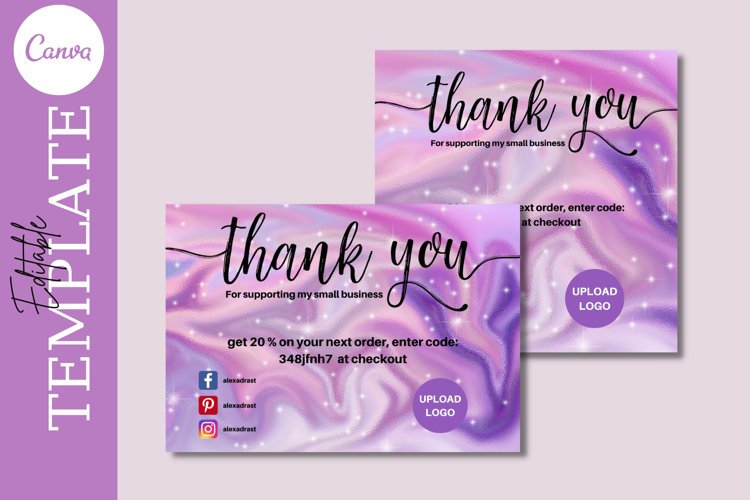 Editable Holographic Purple Thank You Card