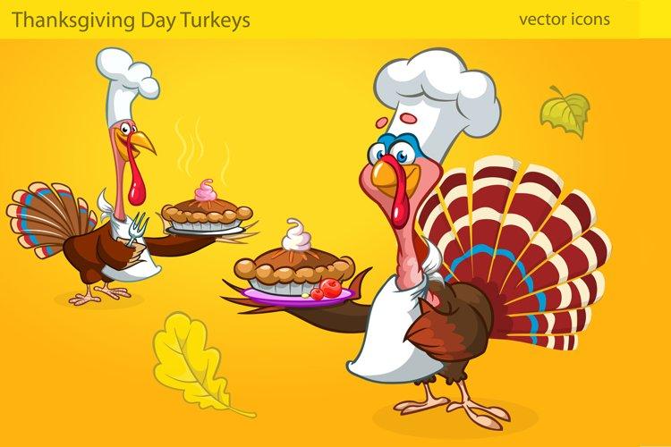 Thanksgiving Turkey Birds In Chief Hats Serving Pie