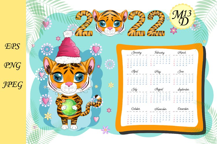 Cute Tiger Wall Calendar Template for 2022, Year of Tiger example image 1