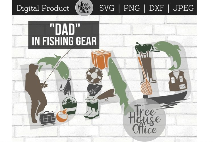 Fishing Dad Father's Day Fisherman Fish Gear SVG PNG JPEG example image 1