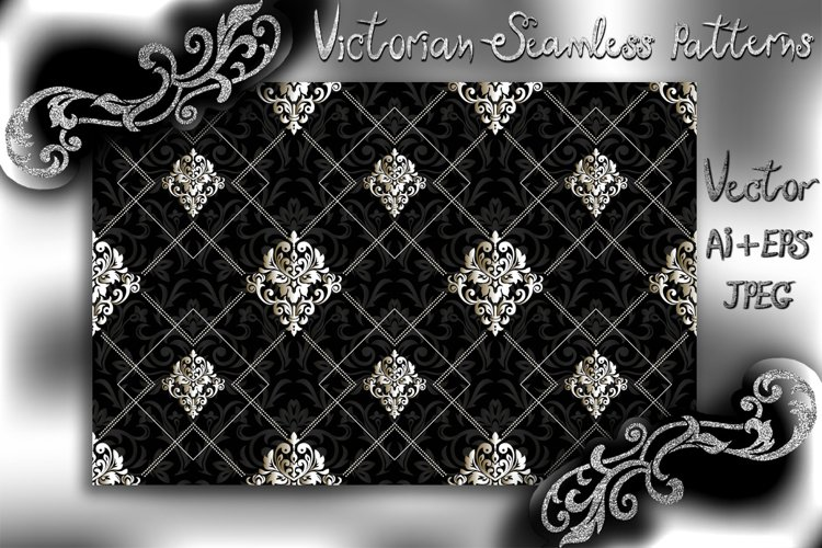 Seamless Damask Wallpaper. Black and white digital paper. example image 1
