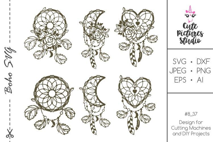 Set Floral dream catcher PNG SVG cut file, Feather SVG PNG